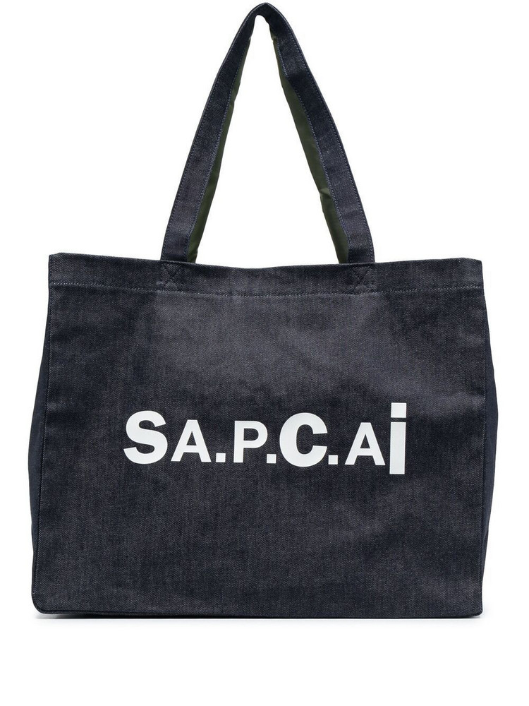 A.P.C. A.P.C. logo print denim tote bag - Blue