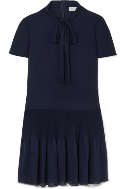 REDValentino - Pussy-bow Pleated Georgette Mini Dress - Midnight blue