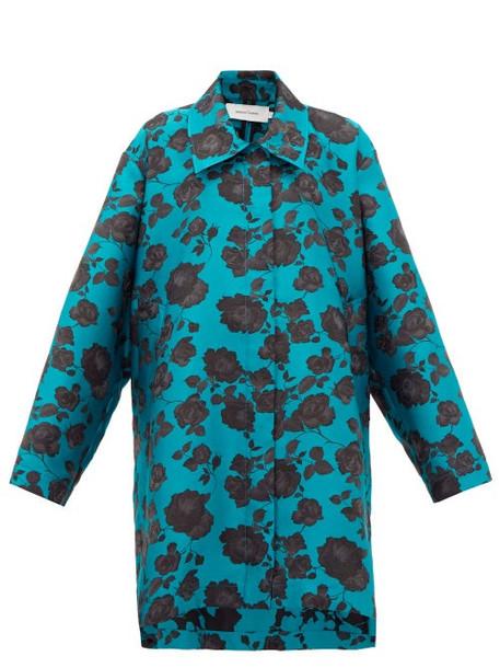 Marques'almeida - Oversized Floral-jacquard Coat - Womens - Blue Multi