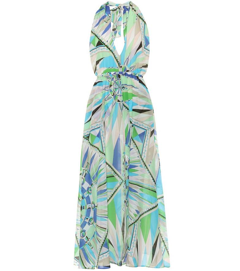 Emilio Pucci Beach Printed cotton and silk maxi dress in green