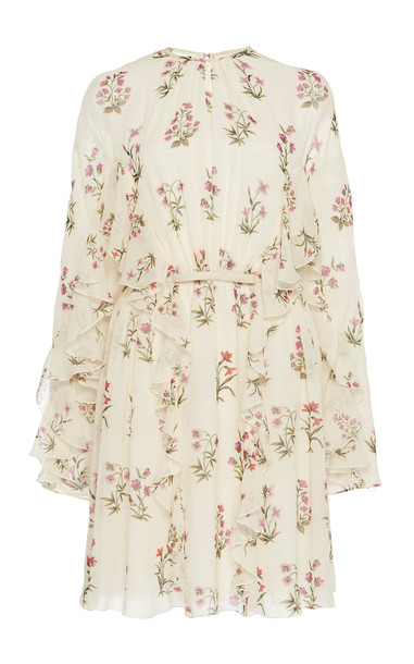 Giambattista Valli Ruffled Floral-Print Silk Mini Dress in white