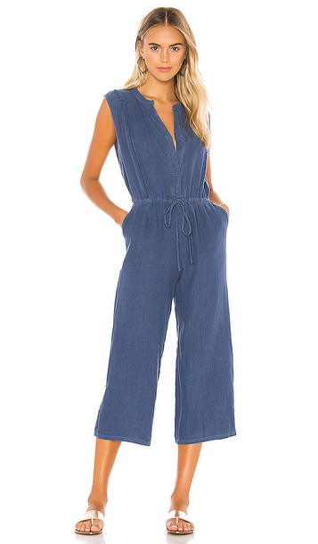 krisa Button Front Cropped Jumpsuit in Blue