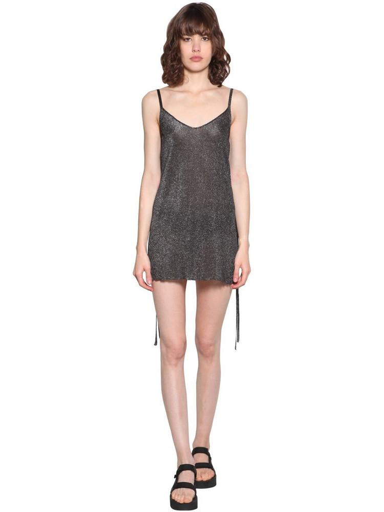 ALANUI Glittered Sheer Mini Dress in grey
