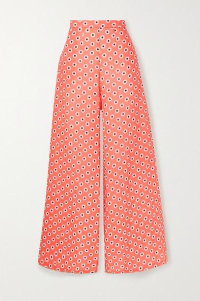 Miguelina - Pamela Floral-print Linen Wide-leg Pants - Coral