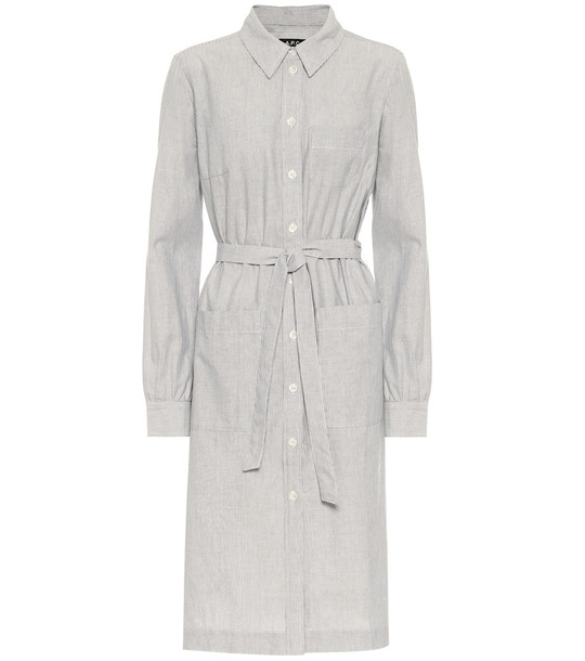 A.P.C. Emmanuelle cotton shirt dress in grey