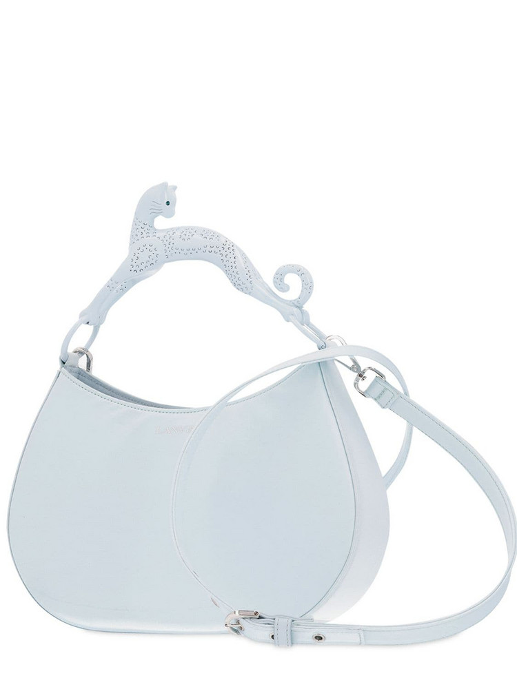 LANVIN Satin Cat Top Handle Bag in blue