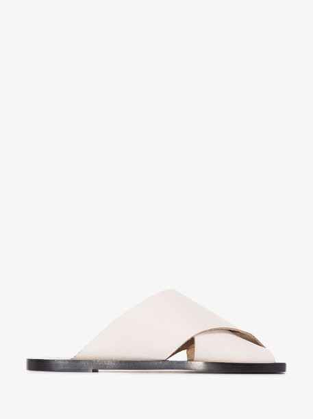 Atp Atelier White Alicia flat crossover leather sandals