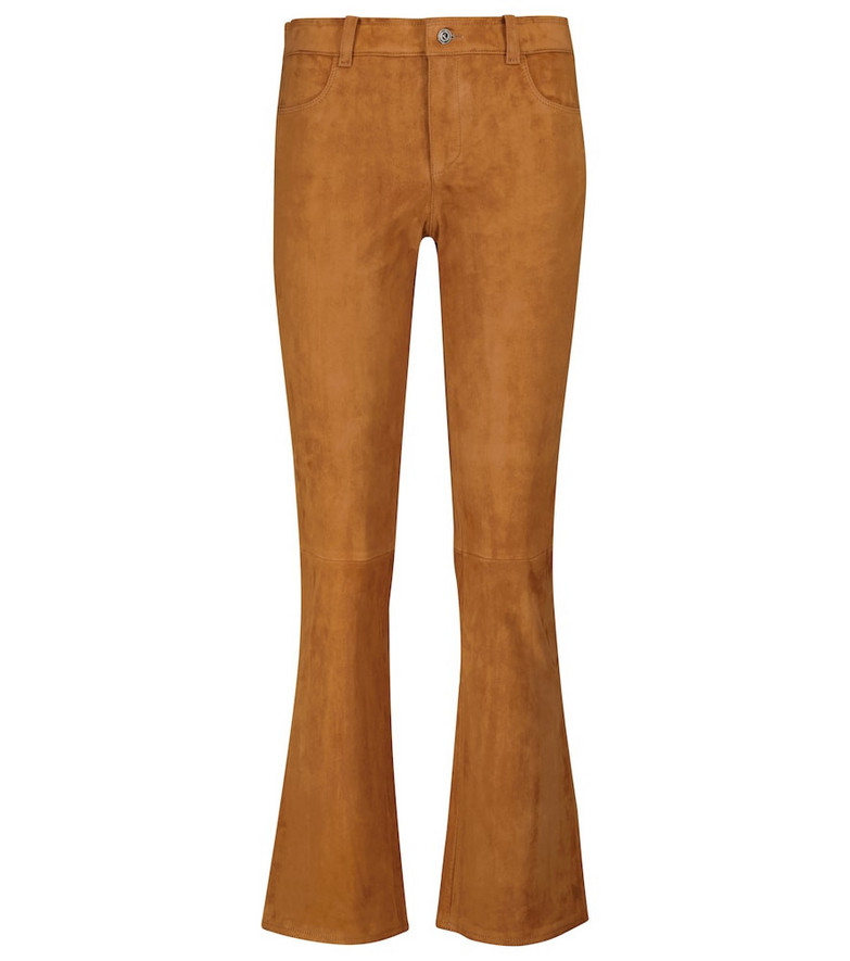 STOULS Dean mid-rise cropped suede pants in brown