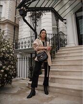 jumpsuit,black jumpsuit,long sleeves,topshop,black boots,jacket,black bag,headband