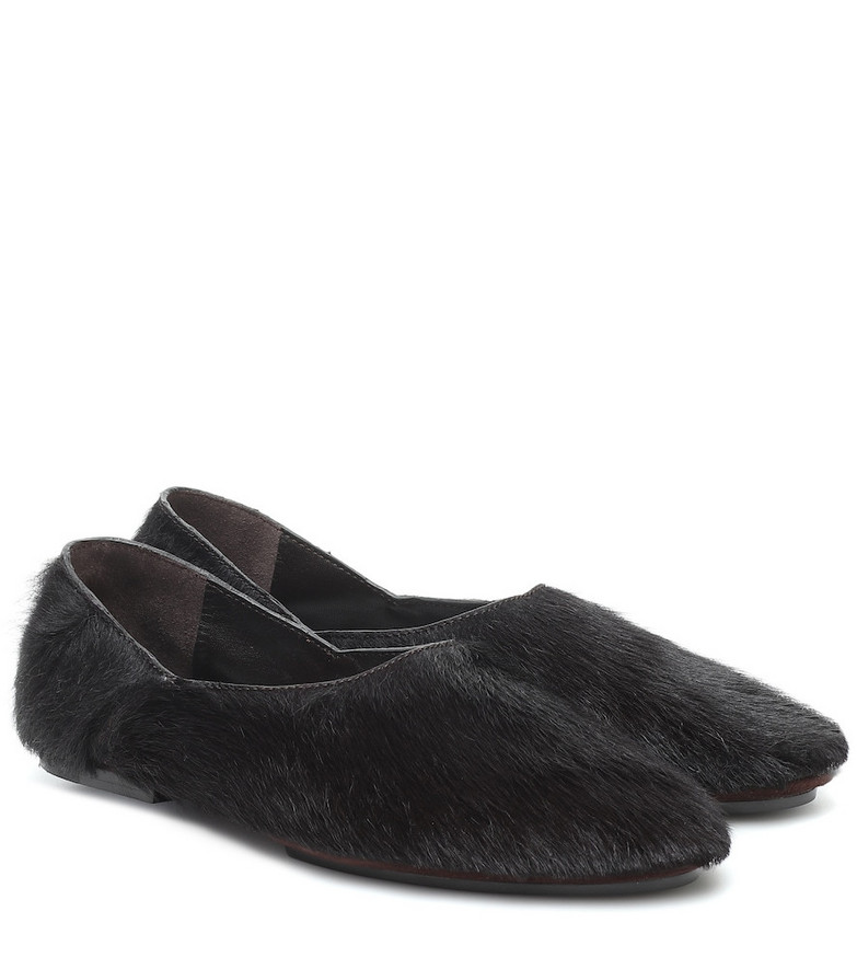 Jil Sander Calf hair ballet flats in black