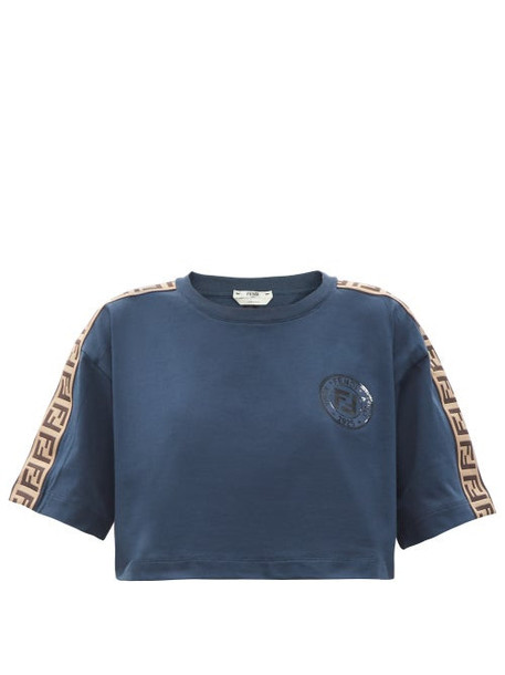 Fendi - Logo-jacquard Stripe Cotton-jersey Cropped T-shirt - Womens - Navy
