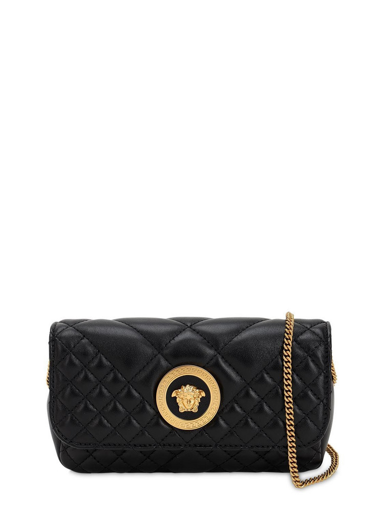 VERSACE Mini Icon Quilted Leather Shoulder Bag in black