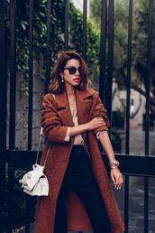 viva luxury,blogger,coat,sweater,jewels,shoes,bag,jeans,sunglasses,brown coat,winter outfits,white bag