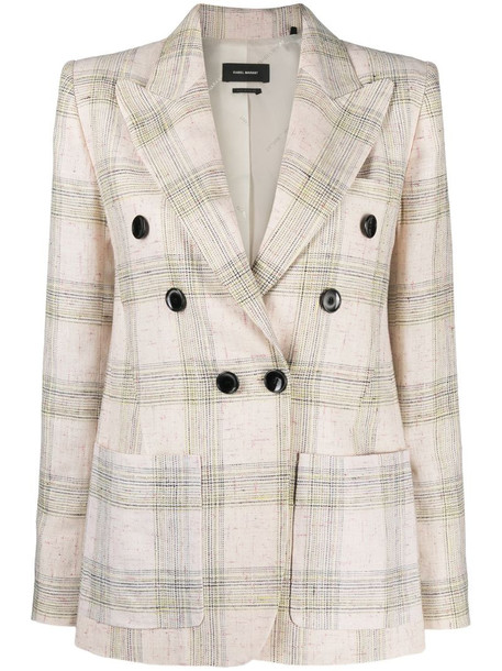 Isabel Marant Lenora check-print double-breasted jacket in neutrals