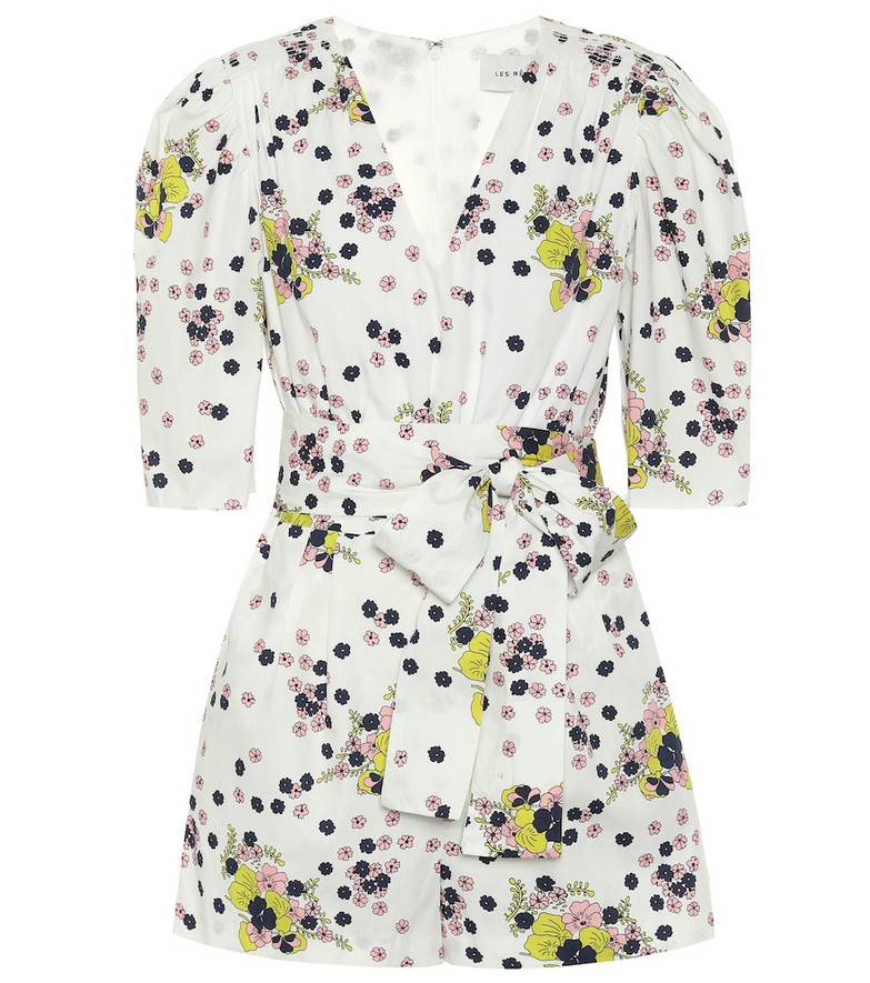 Les Rêveries Exclusive to Mytheresa – Floral cotton poplin playsuit in white