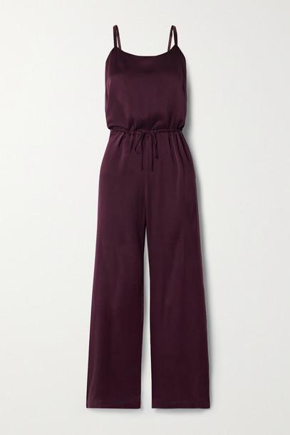 SKIN - Tiffany Washed Silk-blend Charmeuse Jumpsuit - Burgundy