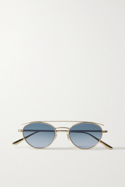 The Row - Oliver Peoples Hightree Round-frame Gold-tone Sunglasses