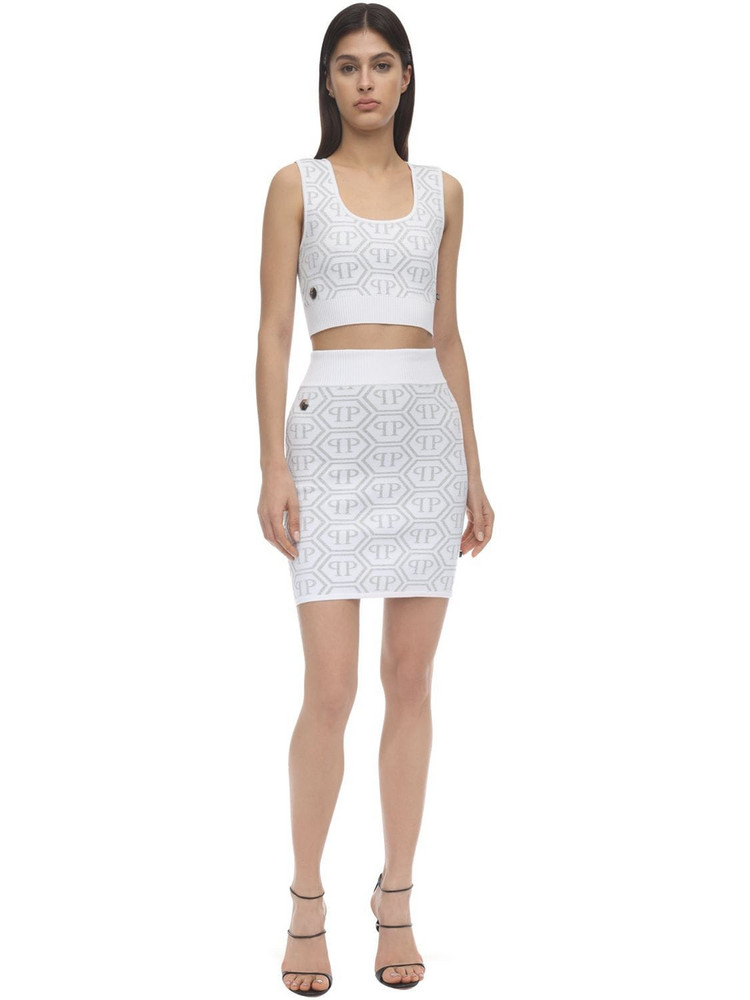 PHILIPP PLEIN Pp Logo Lurex Intarsia Knit Top & Skirt in silver / white