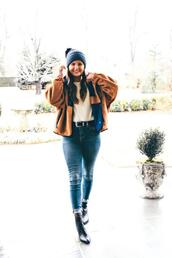 to be bright,blogger,jacket,sweater,jeans,shoes,hat,beanie,winter outfits,ankle boots