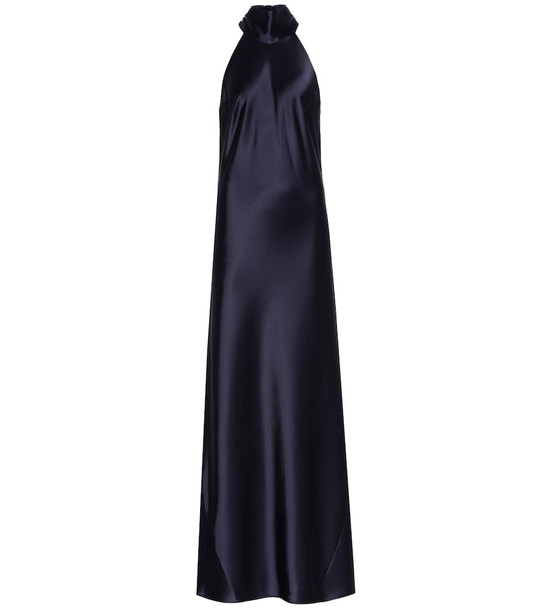 Galvan Sienna satin gown in blue
