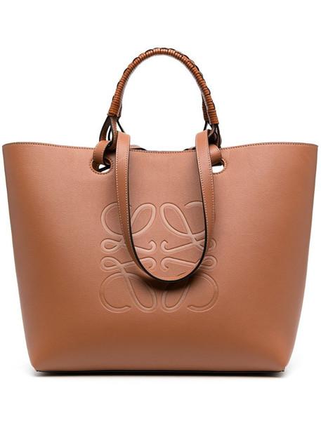 LOEWE Anagram leather tote bag in brown