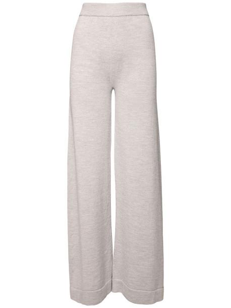 MAX MARA Straight Leg Wool Knit Sweatpants in grey