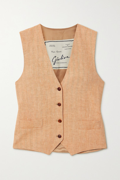 GIULIVA HERITAGE - The Andrea Herringbone Linen Vest - Orange