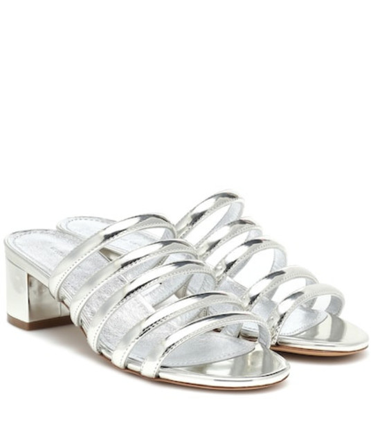 Mansur Gavriel Metallic leather sandals in silver
