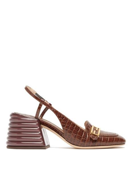 Fendi - Promenade Slingback Crocodile-effect Leather Pumps - Womens - Dark Brown