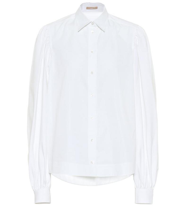 Alaïa Puff-sleeve cotton poplin shirt in white