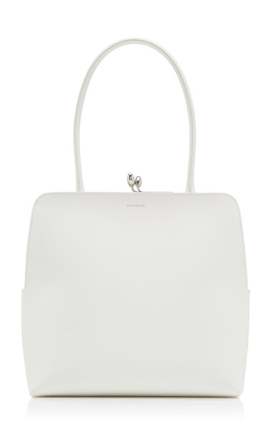 Jil Sander Mini Goji Frame Leather Top Handle Bag in white