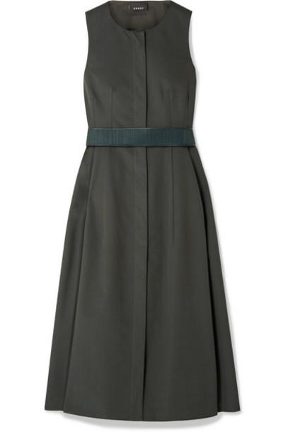 Akris - Belted Cotton Midi Dress - Dark green