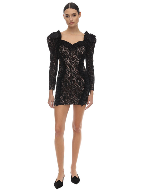 ULYANA SERGEENKO Ruffled Lace Mini Dress in black