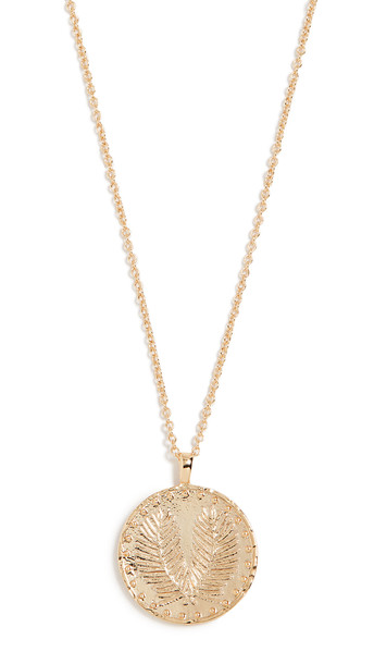 Gorjana Palm Coin Necklace in gold / yellow