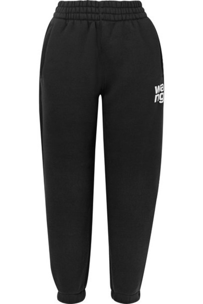 alexanderwang.t - Printed Cotton-blend Fleece Track Pants - Black
