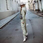 jumpsuit,white boots,cowboy boots,ankle boots,dior bag,hat