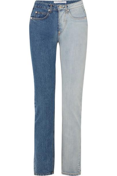 Pushbutton - Two-tone High-rise Straight-leg Jeans - Mid denim