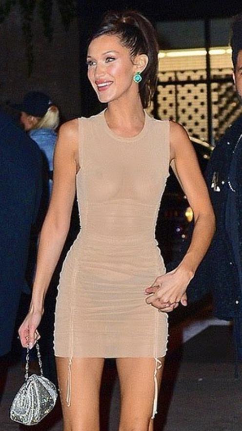 dress nude dress bella hadid