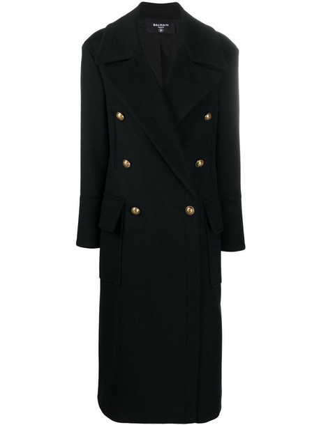Balmain wool and cashmere-blend coat in black