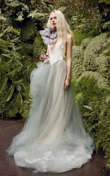 Vera Wang Larkspur V-Neck Crepe Gown With Tulle Skirt in white