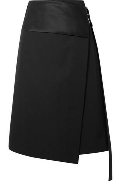 Helmut Lang - Satin-paneled Wool-twill Wrap Skirt - Black