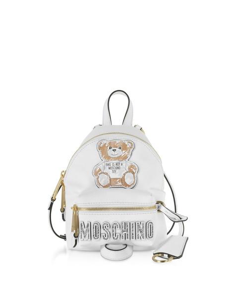 Moschino White Teddy Bear Brushstroke Signature Mini Backpack