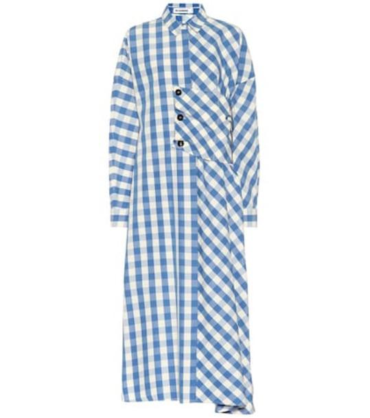 Jil Sander Checked cotton midi dress in blue