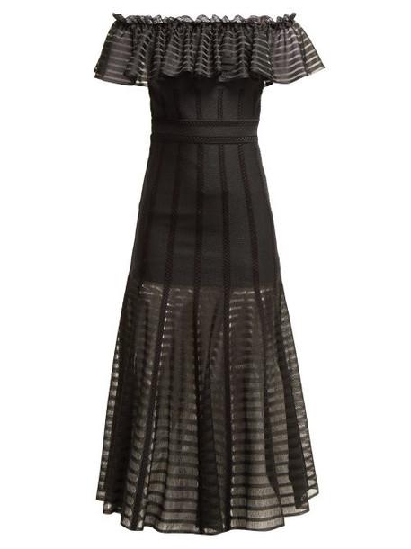 Alexander Mcqueen - Off The Shoulder Stripe Knitted Midi Dress - Womens - Black