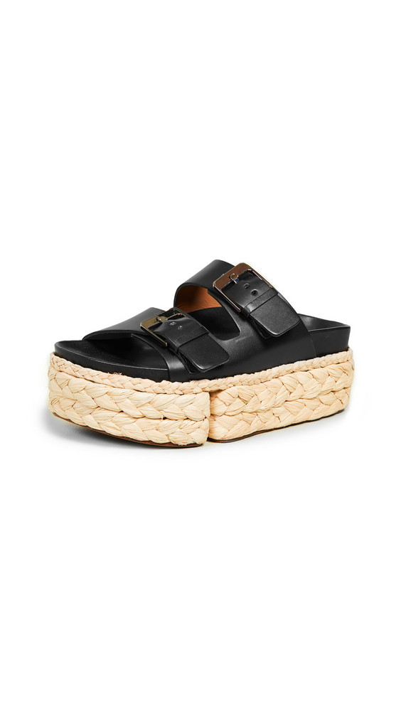 Clergerie Abby Two Band Slide Sandals in black