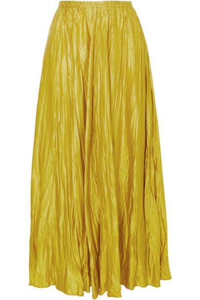 forte forte - Crinkled Washed Silk-satin Maxi Skirt - Lime green