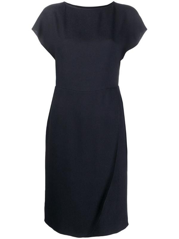 Emporio Armani short-sleeved round-neck dress in blue