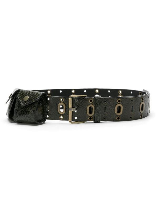 Nk leather pockets belt in black