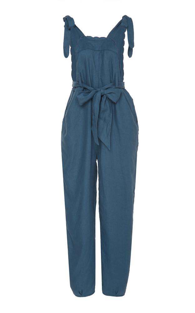 Innika Choo Fava Rutfrend Cotton Linen Jumpsuit Size: 0 in blue