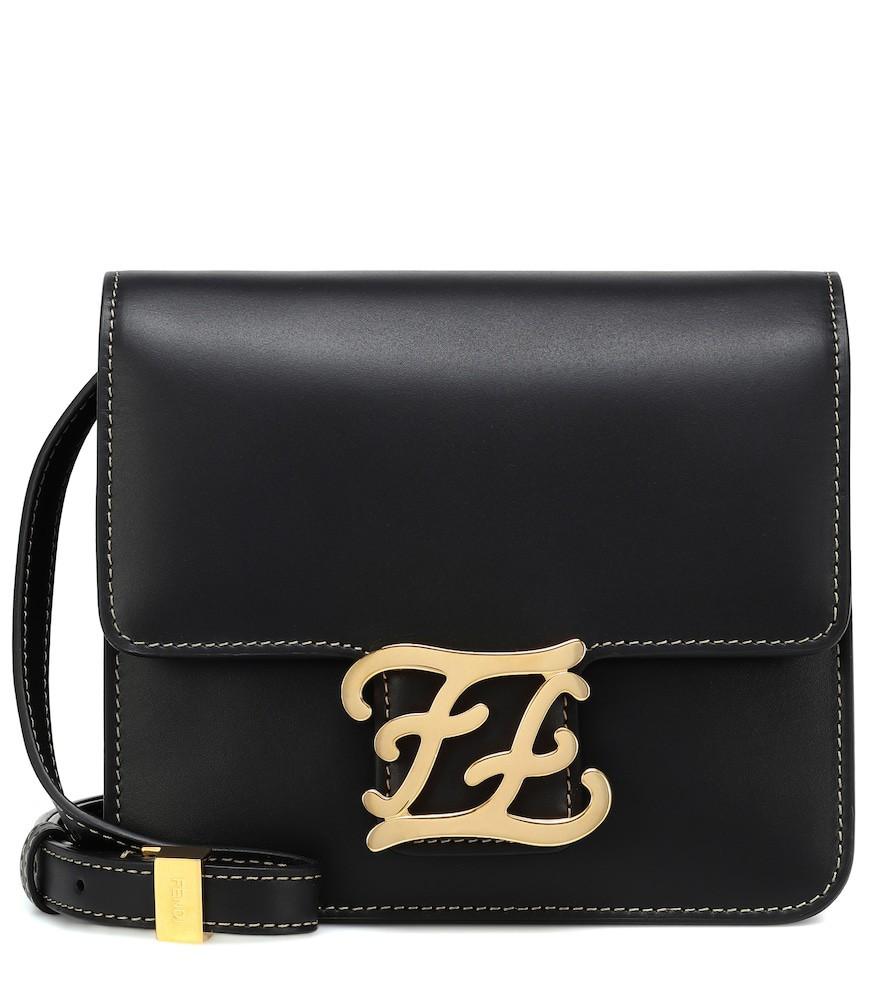 Fendi Karligraphy leather shoulder bag in black